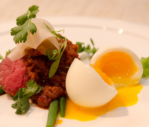 Grilled Aged Prime Rib with Southern-Style Curry, Soft-Boiled Egg, and Pickled Ginger